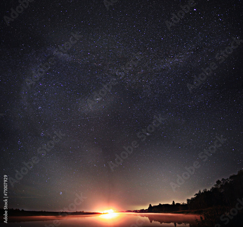 Fotobehang Nacht starry night sky lake landscape