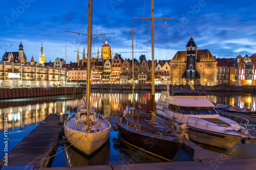 Obrazy na płótnie Canvas A view of a Gdansk port in the dusk, Gdansk, Poland