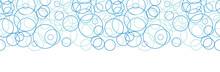 Vector Abstract Blue Circles Horizontal Border Seamless Pattern