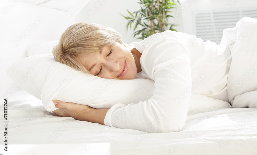 Fototapety, obrazy: Beautiful woman sleeping in white bed