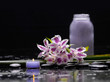 Spa still life with branch of beautiful orchid and candle