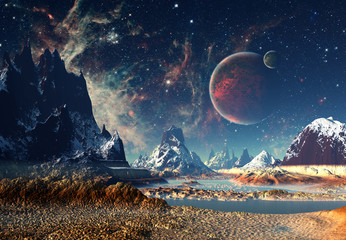 Obraz na Szkle Kosmos Alien Planet - 3D rendered computer artwork