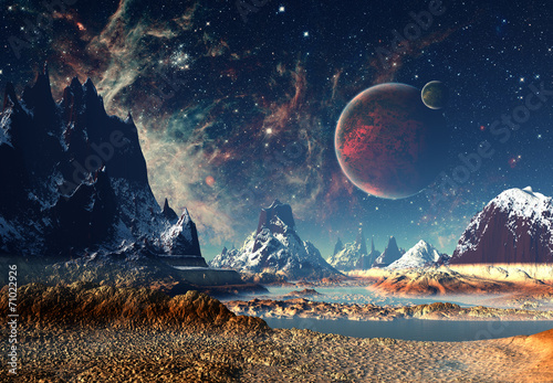 Fotografia, Obraz Alien Planet - 3D rendered computer artwork
