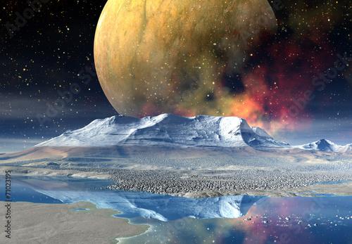 Deurstickers Nasa Alien Planet - 3D rendered computer artwork