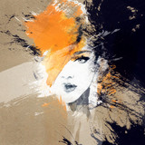 woman portrait  .abstract  watercolor .fashion background - 71023341