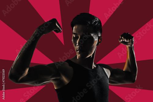 Aluminium Prints Silhouette of strong man