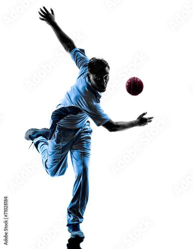 Obraz na płótnie pitcher Cricket player  silhouette