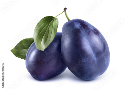 Two blue plums isolated on white background Wallpaper Mural