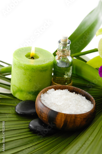 Poster Spa health spa and green palm texture