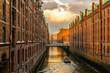 canvas print picture - Barkasse in der Speicherstadt Hamburg