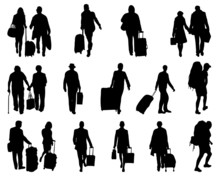 Black Silhouettes Of Travelers, Vector