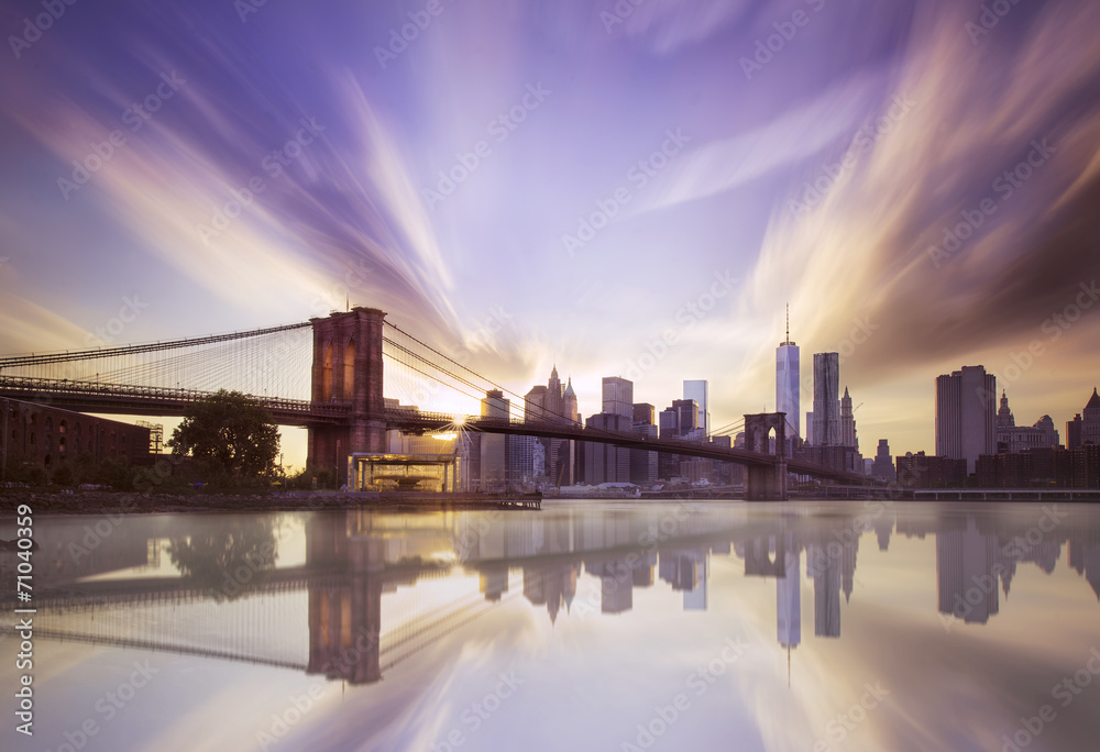 Fototapety, obrazy: Brooklyn bridge sunset