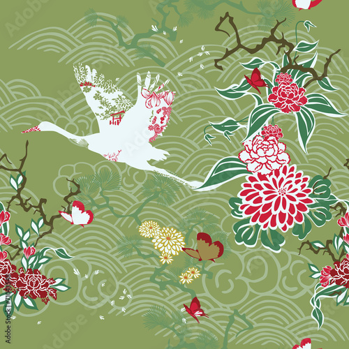 Seamless background with crane and ikebana #71043548