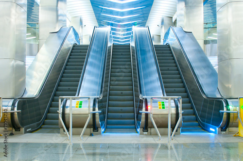 Moving escalator in the subway Canvas Print