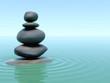 Stones on water in zen style