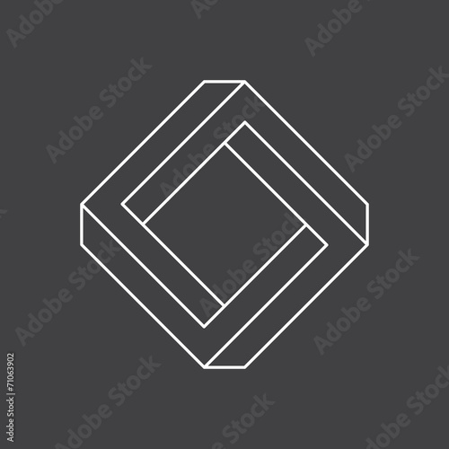 Fotografie, Obraz  Impossible shape, penrose square, vector illustration
