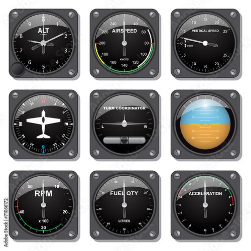 Aircraft gauges set Canvas Print