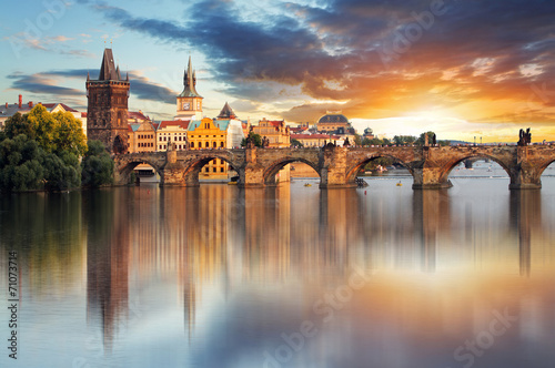 Prague - Charles bridge, Czech Republic Canvas Print