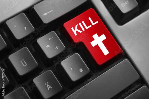 Fotografia, Obraz  keyboard red button kill cross symbol
