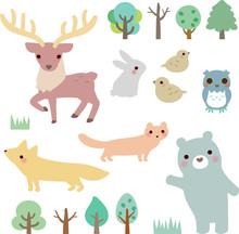 動物たちと森の木々