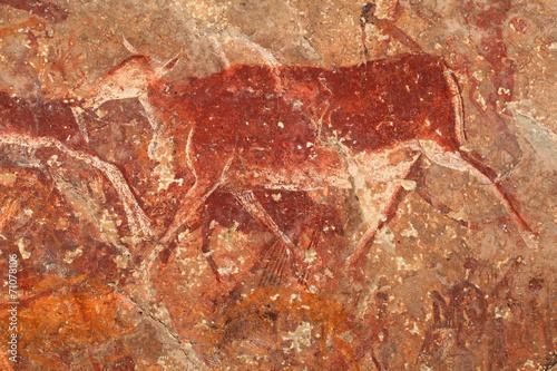 Bushmen rock painting of an antelope, Drakensberg
