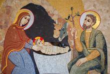 Bratislava - The Mosaic Of Nativity In St. Sebastian Cathedral