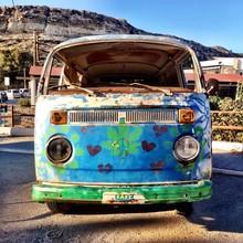 Hippie Bus In Matala, Greece