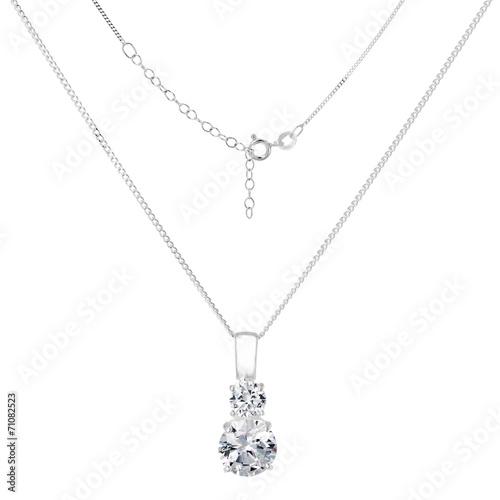 Fotografija Silver necklace and pendant on white background