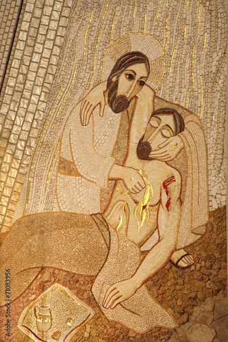 Madrid - Modern mosiac of Good Samaritan in Almudena cathedral