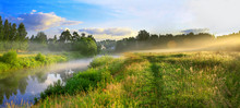Panorama Of A Summer Landscape With Sunrise, Fog And The River