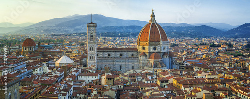 Garden Poster Florence panoramic view to Giotto belfry