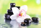 Fototapeta Bambus - Spa stones and white orchid on table on natural background