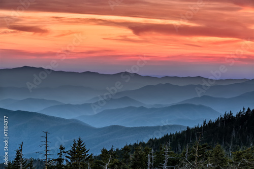 Spoed Foto op Canvas Natuur Park Sunset in the Smokies