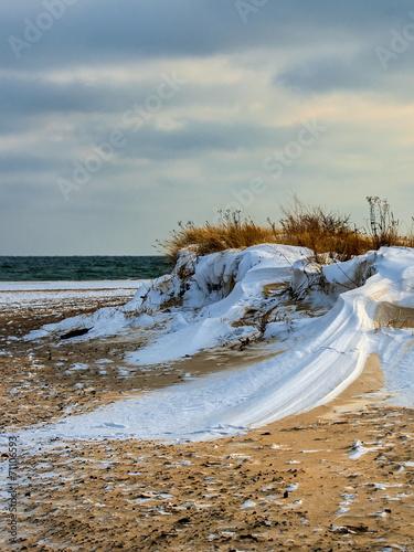 Fotobehang - Krajobraz Morski, morze, zimowa plaża