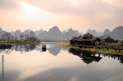 Fotobehang Guilin Landscape in Yangshuo Guilin, China ..