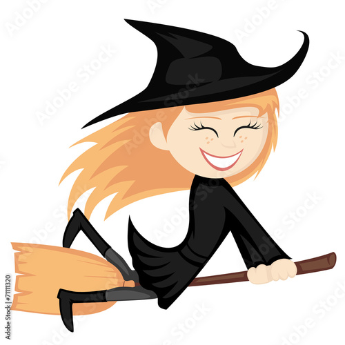 Fotografie, Obraz  Witches all around - ginger witch girl is riding on a broom