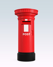 Red British Postbox Isolated On Blue Background