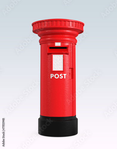 Red British postbox isolated on blue background Canvas Print