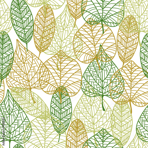 Seamless pattern of outline autumnal leaves #71116320