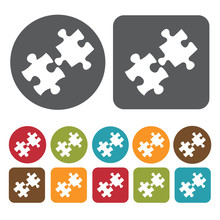 Jigsaw Puzzle Icon. Recreation Icons Set. Round And Rectangle Co