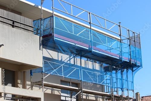 Fotografie, Tablou Echafaudage sur immeuble en construction