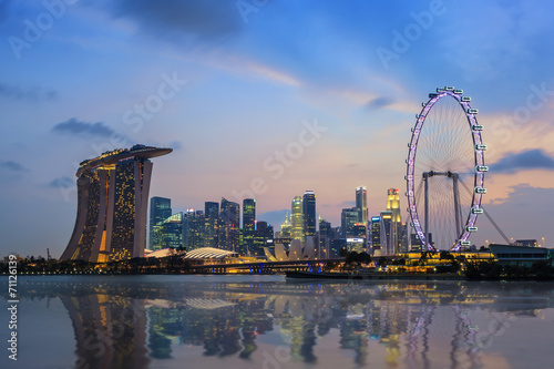 Photo Singapore city skyline at Marina Bay