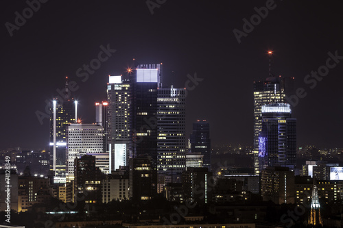 Fototapety, obrazy: Warsaw business center by night