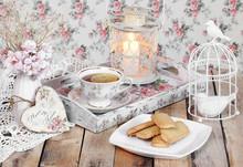 Tea In Elegant Cup In Retro St...