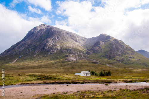 remote white cabin at glencoe,scotland Canvas Print