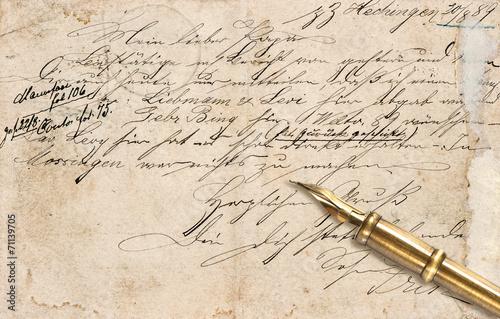 stary-list-z-kaligraficznym-odrecznym-tekstem-i-rocznika-atramentu-pe