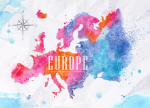Watercolor Europe Map Pink Blue