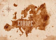 Map Europe Retro
