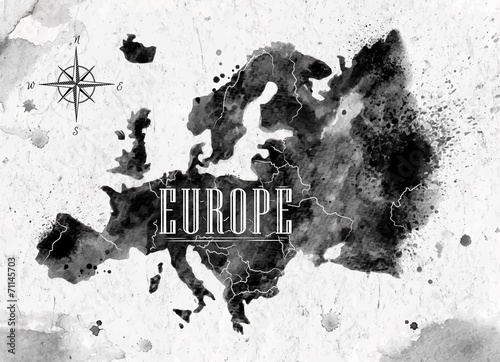 Ink Europe map Wallpaper Mural