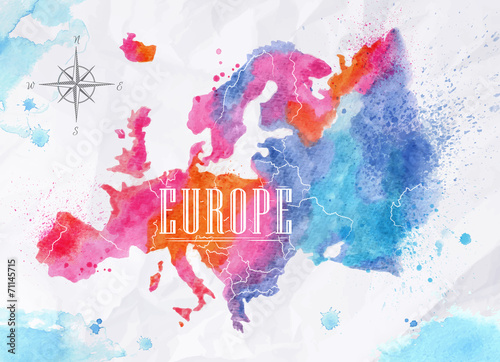 Obraz na plátně  Watercolor Europe map pink blue